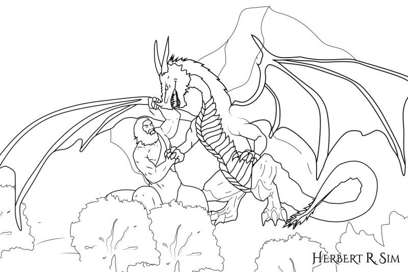 The Fallen One Dragon Versus The Nephilim Giant - Herbert R  Sim
